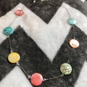Silver Necklace with Colorful round beads